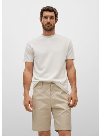 MANGO - Cotton Chino Style Bermuda Shorts BEIGE