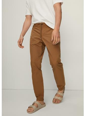 MANGO - Cotton Jogger-style Trousers TABACCO