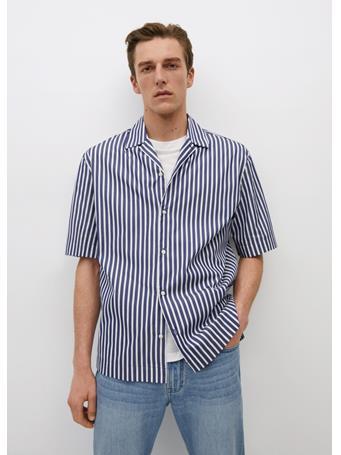 MANGO - Regular-fit Striped Shirt NAVY