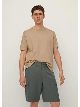 MANGO - Cotton Linen Cargo Shorts KHAKI