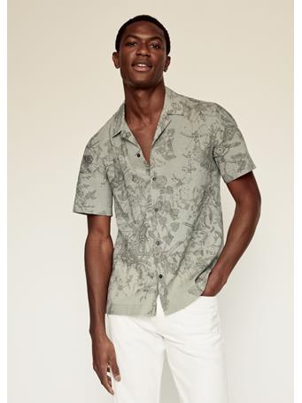 MANGO - Regular-fit Printed Linen Shirt KHAKI