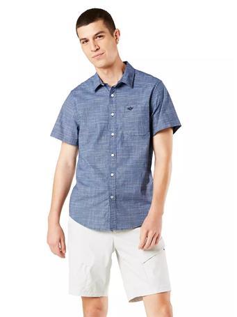 DOCKERS - Washed Poplin Shirt, Regular Fit ESTATE BLUE