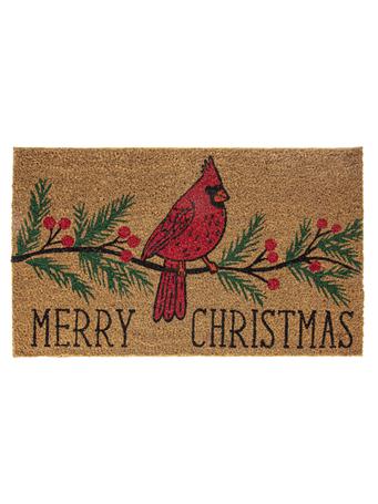 GANZ - Merry Christmas Cardinal On Branch Doormat COIR