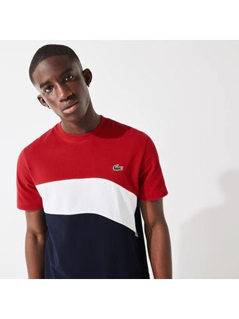 LACOSTE - Sport Ultra-Light Colourblock Cotton Tennis T-Shirt RUBY WHITE