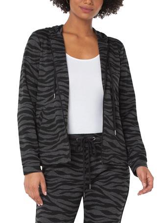 LIVERPOOL JEANS - Zip Up Hoodie Jacket BLACK GREY ZEBRA
