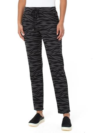 LIVERPOOL JEANS - Pull On Knit Jogger With Drawstring BLACK GREY ZEBRA