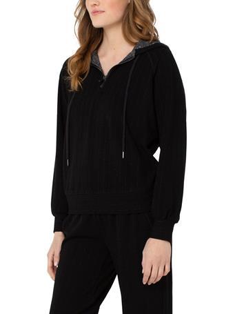 LIVERPOOL JEANS - Hooded Raglan Zip Popover BLACK WITH ZEBRA