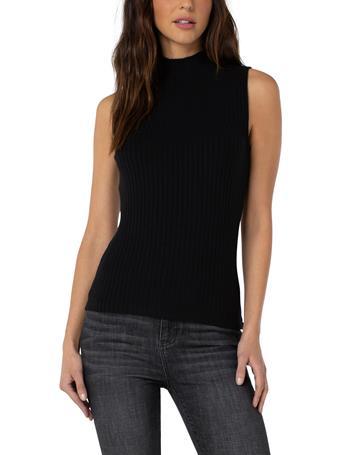LIVERPOOL JEANS - Mock Neck Sleeveless Rib-Knit Top BLACK