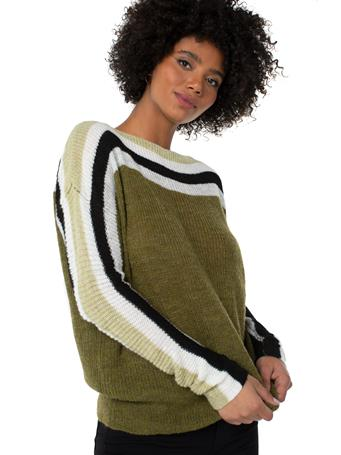 LIVERPOOL JEANS - Striped Oversized Dolman Sweater OLIVE HEATHER