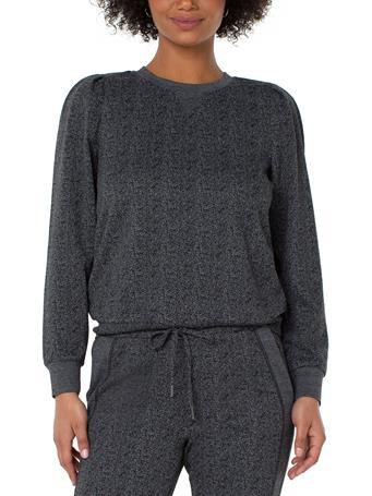 LIVERPOOL JEANS - Crew Neck Sweatshirt With Pleated Sleeve BLACK GREY HERRINGBONE