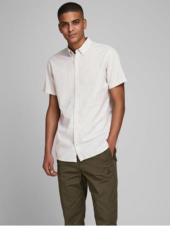 JACK & JONES - Button Down Short Sleeved Shirt CROCKERY WHTE
