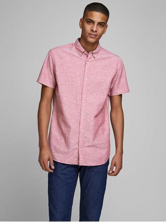 JACK & JONES - Button Down Short Sleeved Shirt RIO RED