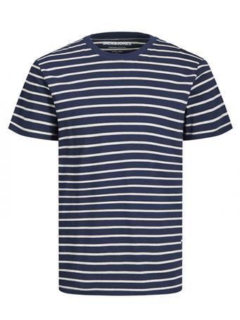 JACK & JONES - Crew Neck Striped T-Shirt NAVY BLAZER