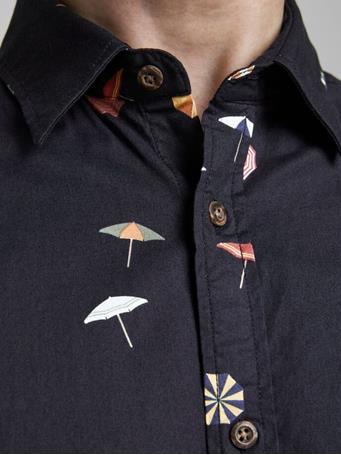 JACK & JONES - Poplin Multi Icons Short Sleeved Shirt DARK NAVY