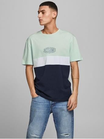 JACK & JONES - Colour Block T-Shirt PALE BLUE