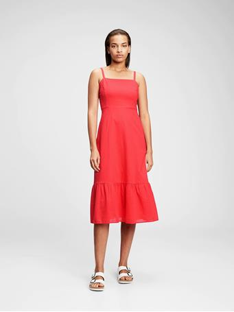 GAP - Squareneck Midi Dress ROSE BUSH