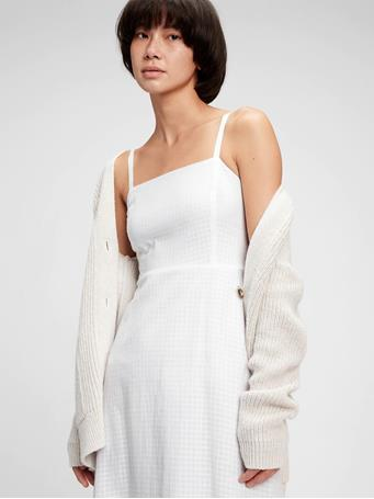 GAP - Squareneck Midi Dress FRESH WHITE