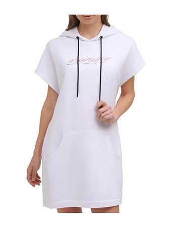 DKNY - Sport Ombre Logo Short Sleeve Hooded Sneaker Dress WHITE