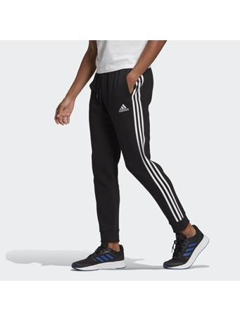 ADIDAS - Essentials Fleece Tapered Cuff 3-Stripes Pants BLACK