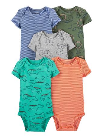 CARTERS - 5-Pack Short-Sleeve Bodysuits SAFARI