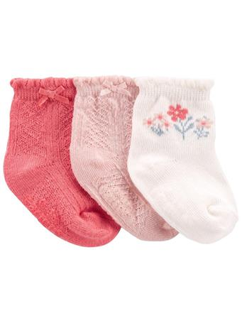 CARTERS - 3-Pack Pointelle Booties - Socks NO COLOR