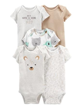 CARTERS - 5-Pack Short-Sleeve Bodysuits ANIMALS