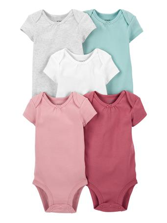 CARTERS - 5-Pack Short-Sleeve Bodysuits SOLID
