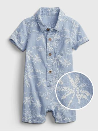 GAP - Baby Palm Tree Graphic Shorty One-Piece CHAMBRAY PRINT