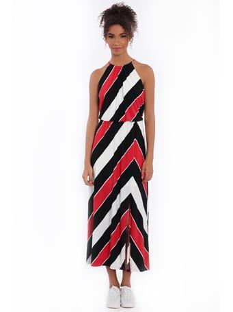 LONDON TIMES - Artie Halter Maxi Dress BLK/RED