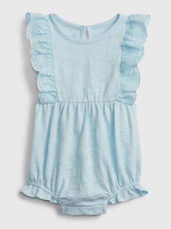 GAP - Baby Eyelet Ruffle One-Piece PACIFIC MIST