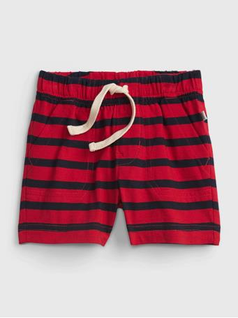 GAP - Baby 100% Organic Cotton Mix and Match Stripe Pull-On Shorts RED BLUE STRIPE