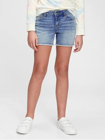 GAP - Kids Distressed Denim Midi Shorts with Stretch LIGHT WASH