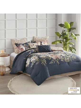 MADISON PARK - Camillia 8 Piece Cotton Comforter Set NAVY