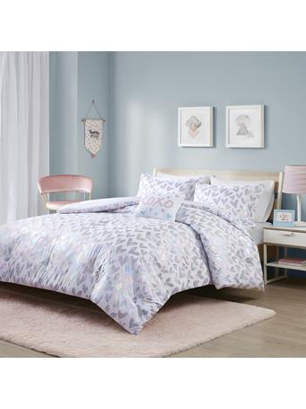 MI-ZONE - Kristie Iridescent Metallic Heart Printed Comforter Set MULTI