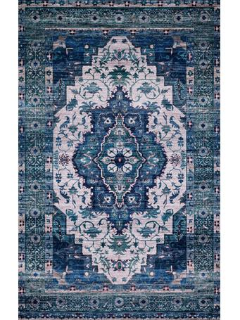 JUSTINA BLAKENEY X LOLOI -  Cielo Rug Collection IVORY / TURQUOISE