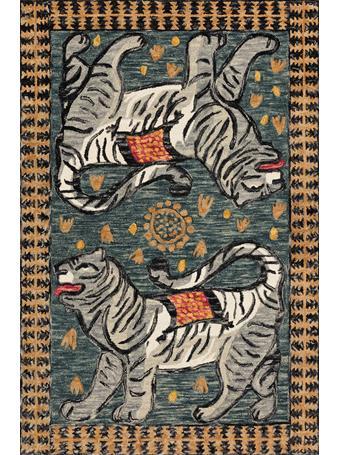 JUSTINA BLAKENEY X LOLOI -  Tigress Rug Collection TEAL / GREY