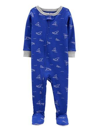 CARTERS - 1-Piece Shark 100% Snug Fit Cotton Footie PJs NAVY