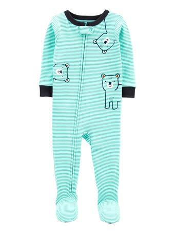 CARTERS - 1-Piece Striped 100% Snug Fit Cotton Footie PJs AQUA
