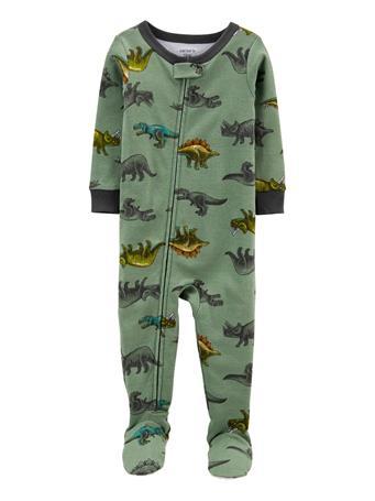 CARTERS - 1-Piece Dinosaur 100% Snug Fit Cotton Footie PJs GREEN