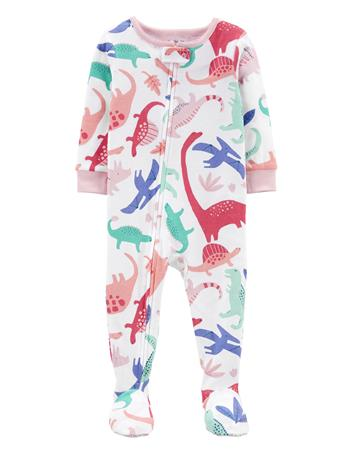CARTERS - 1-Piece Dinosaur 100% Snug Fit Cotton Footie PJs IVORY