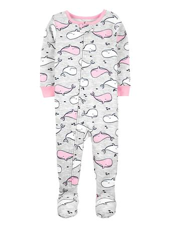 CARTERS - 1-Piece Whale 100% Snug Fit Cotton Footie PJs GREY
