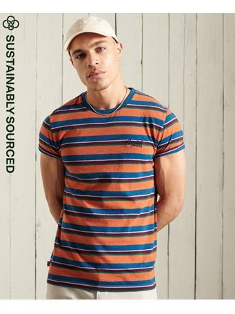 SUPERDRY - Organic Cotton Orange Label Stripe T-Shirt RUST ORANGE