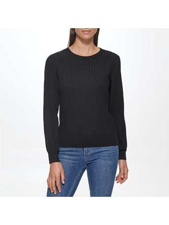 CALVIN KLEIN - Ribbed Crew with Bloon Sleeve BLACK