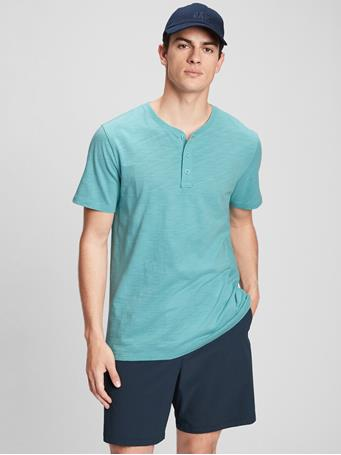 GAP - Lived-In Henley T-Shirt BLUE AGATE