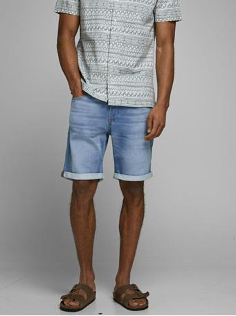 JACK & JONES - Rick Icon Ge 003 Indigo Knit Denim Shorts Blue Denim