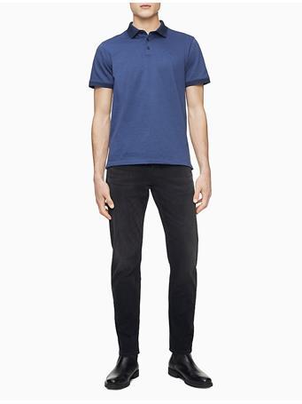 CALVIN KLEIN - Liquid Touch Textured Polo Shirt 502 PLUM NOIR