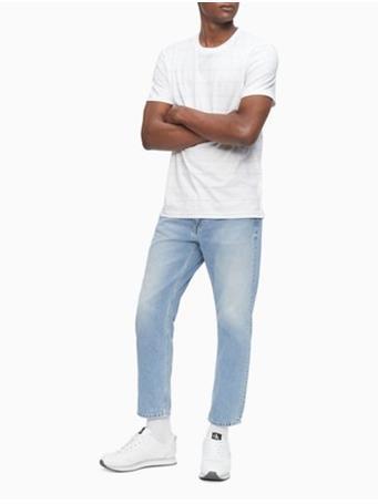 CALVIN KLEIN - Liquid Touch Stripe Crewneck T-Shirt 110 BRILLIANT WHITE
