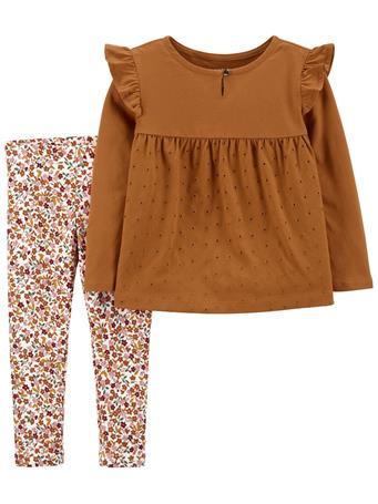 CARTERS - 2-Piece Eyelet Jersey Top & Floral Leggings NO COLOR