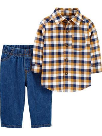 CARTERS - 2-Piece Plaid Button-Front Shirt & Jean Set NO COLOR
