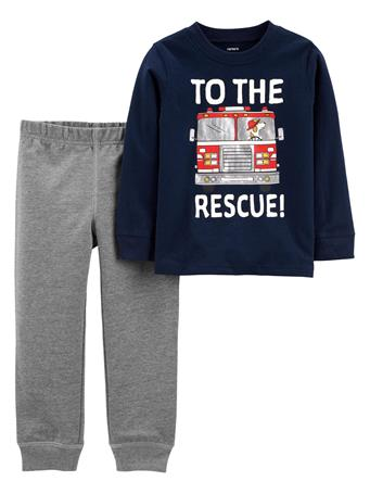 CARTERS - 2-Piece Firetruck Jersey Tee & Pant Set NO COLOR